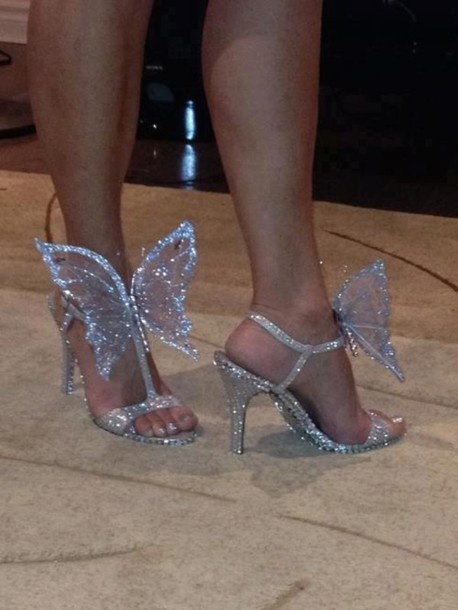 Shoes butterfly silver glitter sandals high heels