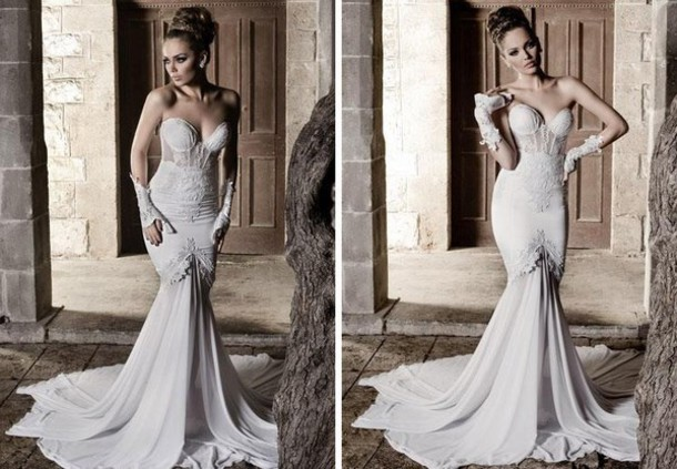 Dress: Wedding Dress, Clothes, Corset Wedding Dress