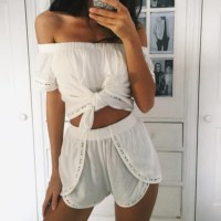 top, shots, white top, two-piece, outfit, dress, shorts ...