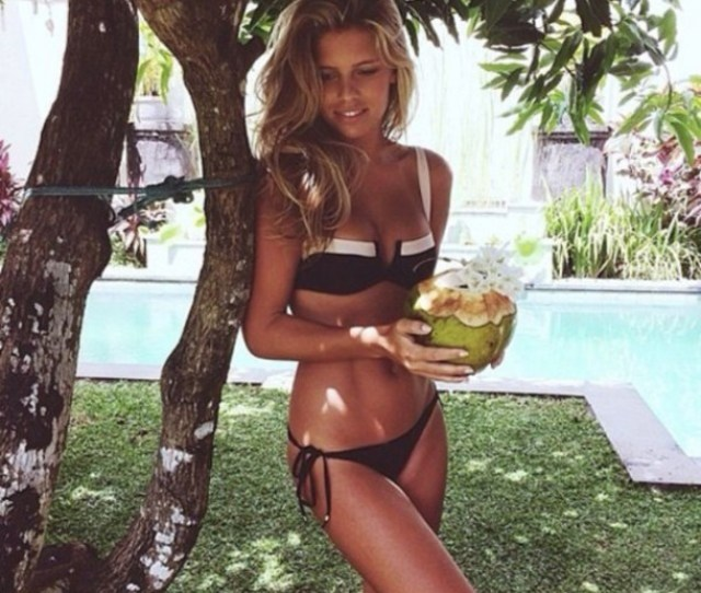 Swimwear Black White Swimwear Vanessa Hudgens Soft Tanned Clothes Bikini Hot Brown Blonde Hair Girl Black