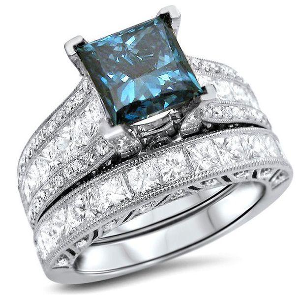 Jewels: princess blue diamond ring set, bridal ring set