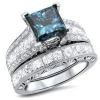 Jewels: princess blue diamond ring set, bridal ring set ...