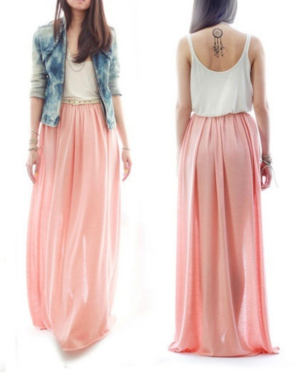 dress maxi skirt maxi dress boho light pink skirt pink maxi skirt pink skirt clothes skirt light pink nude pink