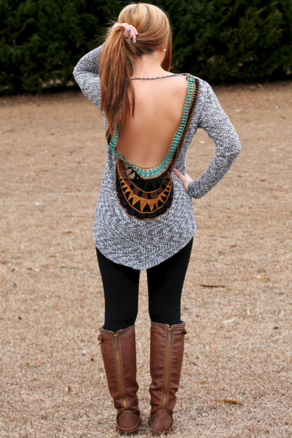 Sweater fall outfits brown leather boots open back
