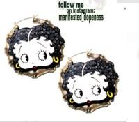 Jewels: gold betty boop, earrings, bamboo earring - Wheretoget