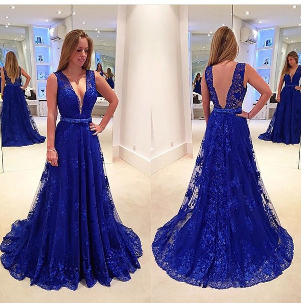 Dress: cobalt blue, prom dress, blue, blue dress, royal