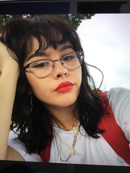 Bag Backpack Enya Umanzor Glasses Necklace Shirt