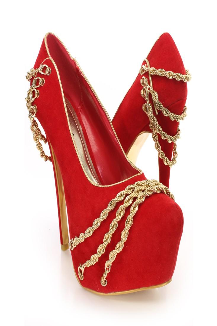 Red Gold Chain Decor Platform Pumps Amiclubwear Heel