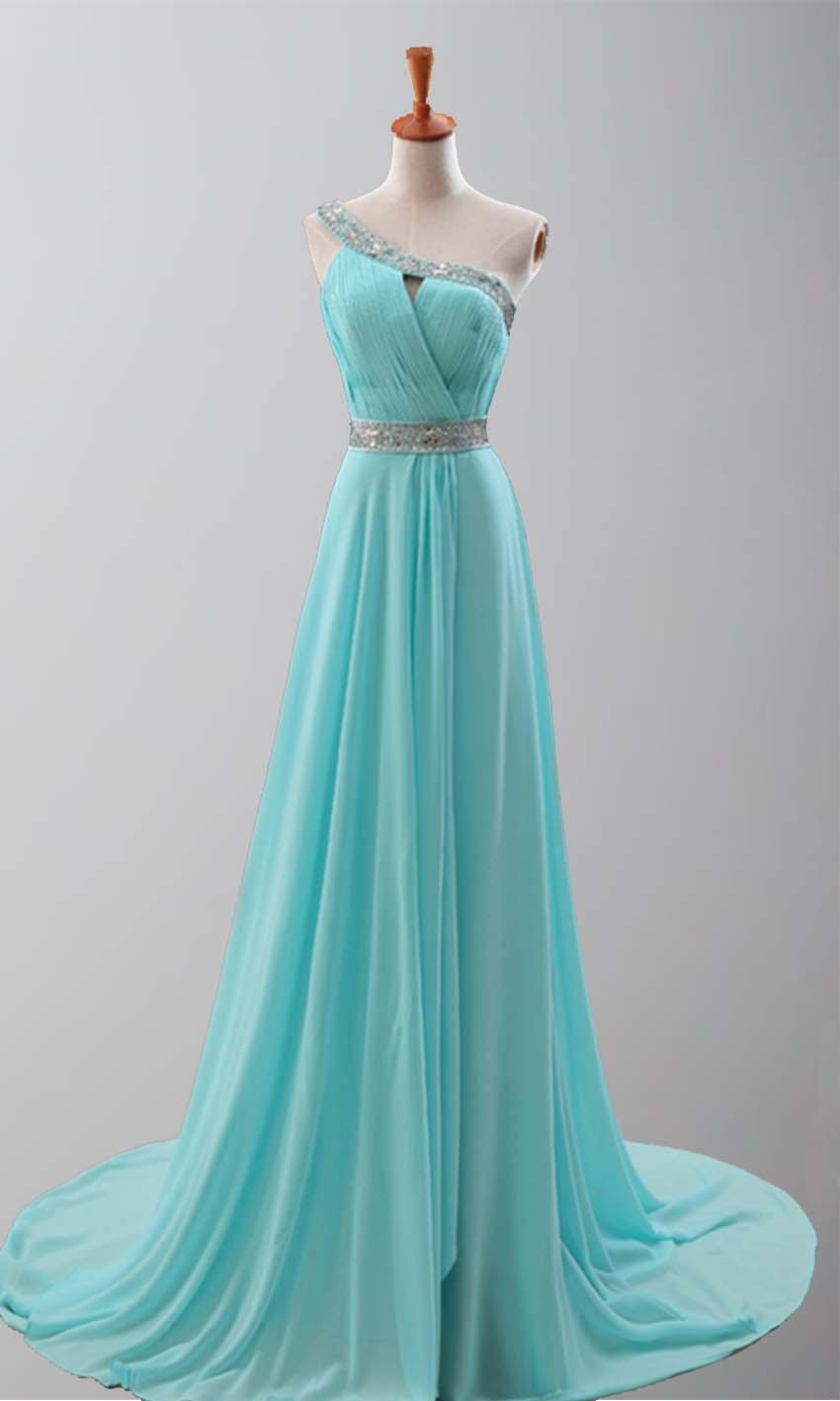 Goddess Teal Train One Shoulder Prom Dresses KSP251