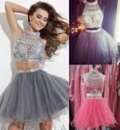 Short Pink Prom Dresses High Neck