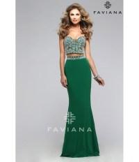 Preorder - Faviana s7524 Emerald Green Two Piece Long ...