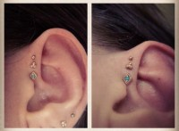 jewels, helix piercing, triple forward helix, triple helix ...