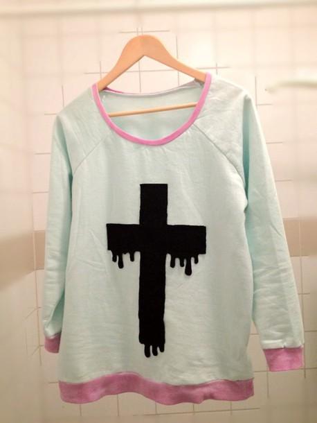 Sweater white black cross pastel goth kawaii emo goth cool  Wheretoget