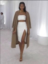 dress, slit skirt, coat, brown, white, bandeau, tight ...