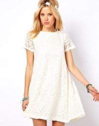 Dress: boho, white, lace, summer, spring, short, mini ...