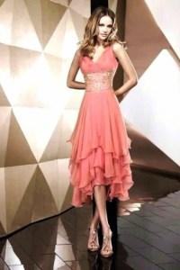 dress, ruffle, coral pink, medium length, knee length ...