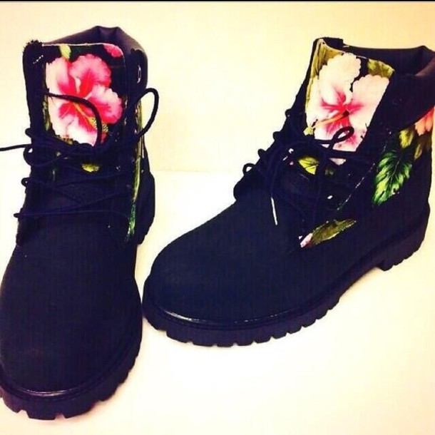 floral timberlands boots