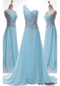 Dress: light blue formal dresses, one shoulder formal ...