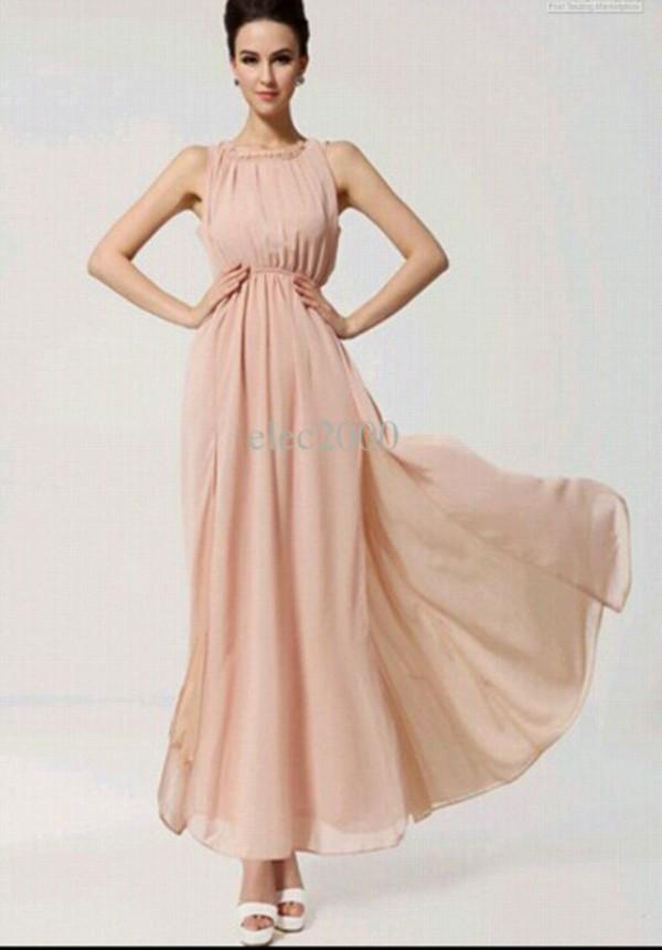 Dress Blush Pink Dress Flowy Dress Elegant Dress Cute