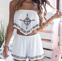 Romper: white romper, summer, summer outfits, two-piece ...