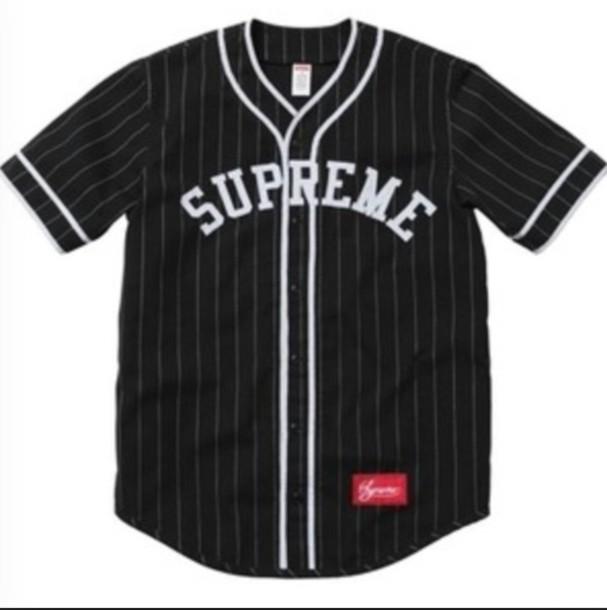 Baseball Jersey Jersey Supreme Black White Stripes