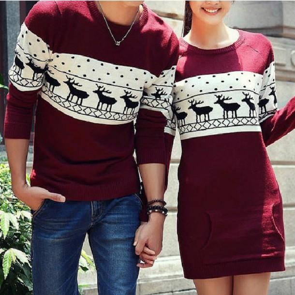 Blouse couple sweaters dress tshirt dress matching