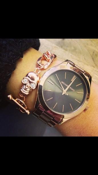 Jewels bracelets chain skull bracelet gold watch