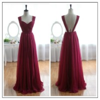 Wine Red Burgundy Chiffon Bridesmaid Dress/Prom Dress ...