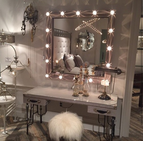 home accessory mirror with lights fur chair silve mirror frame home decor makeup mirror
