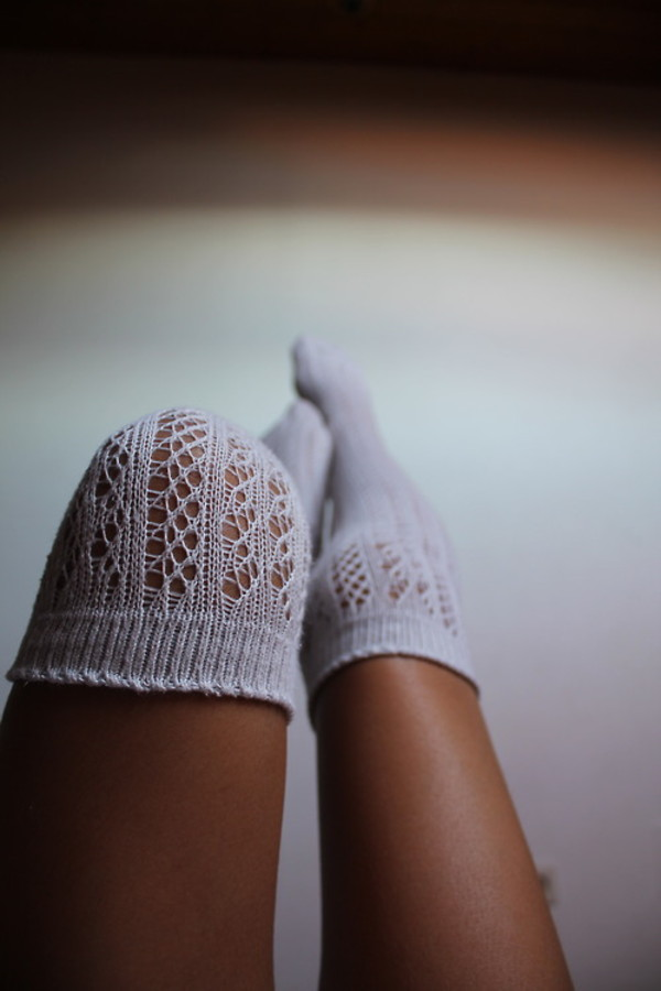 Lacey Sock cotton sock knit long knee socks Ivory