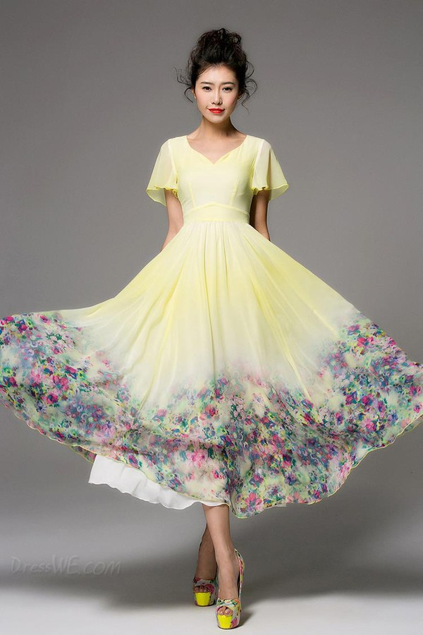 Dress Vintage Maxi Dress Floral Dress Chiffon Dress