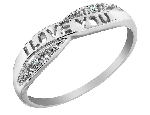 'I Love You' Diamond Promise Ring in 10K White Gold