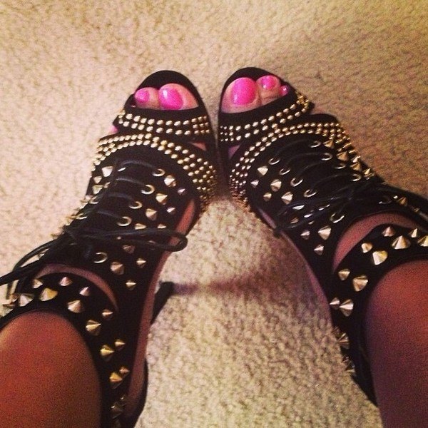 Shoes studded shoes spiked shoes black high heels