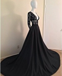 Dress: black, open chest, long gown, classy, gown, sleeves ...
