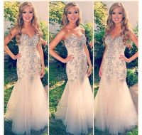 Dress: beige dress, sequin dress, sequins, champagne prom ...