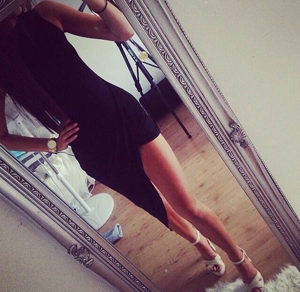 Dress black slit dress black dress swoop dress black dress sexy dress skirt high high