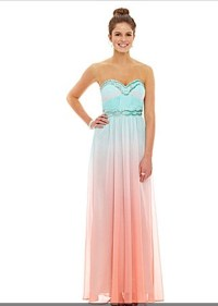 Blondie Nites Strapless Ombre Chiffon Gown