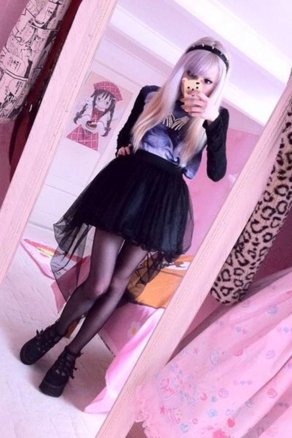 Tank Girl Phone Wallpaper Shirt Black Hi Low Skirt Kawaii Pastel Goth Goth