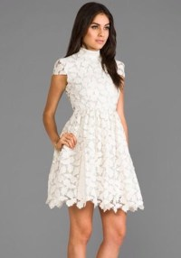 dress, all white everything, lace dress, floral, high neck ...