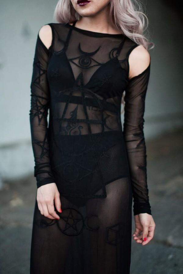Dress goth black sheer see through pentagram witch