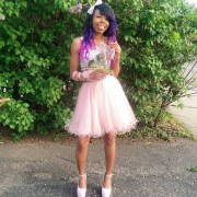 dress purple hair two-piece