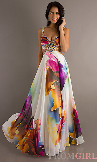 patterned sofas uk sectional sofa covers cheap open back long print prom dress, dave and johnny gown ...