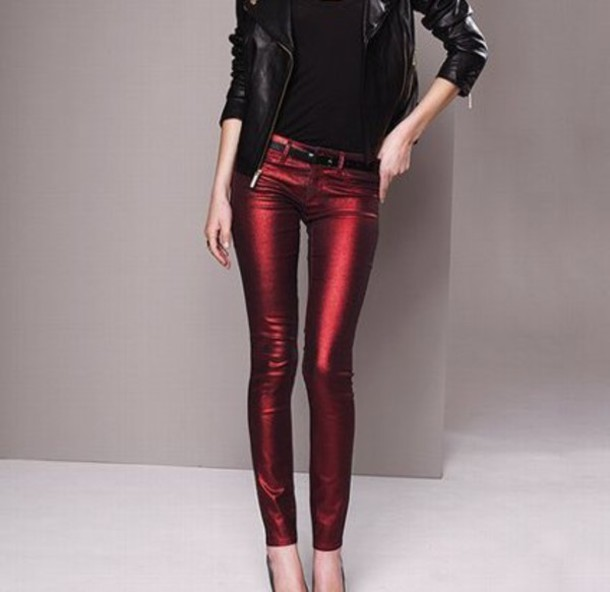 jeans metallic leather pants leather red shiny 80s