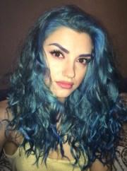 hair accessory blue makeup