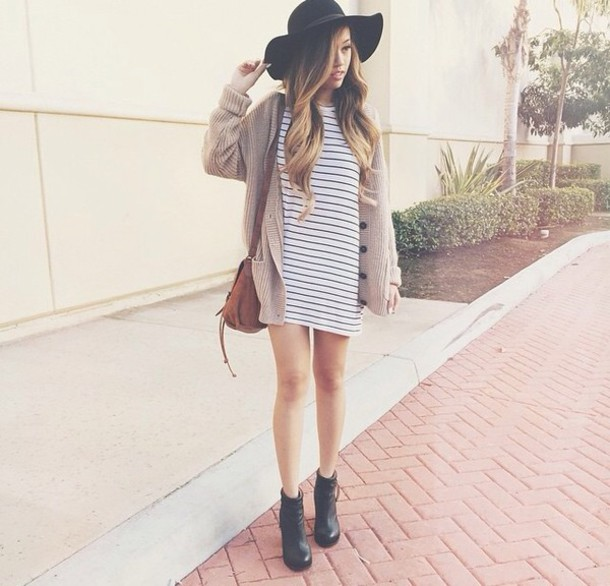 o neck stripe dress