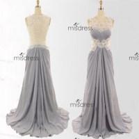 dress, lace scoop prom dress, sliver skirt prom dress ...