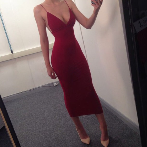 Dress red dress slim dress bodycon dress whine red