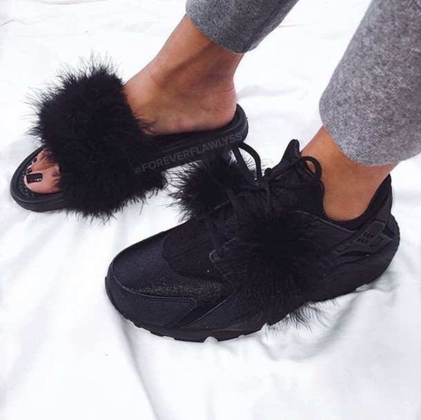 shoes fur slides fur nike slippers furry nike sandals