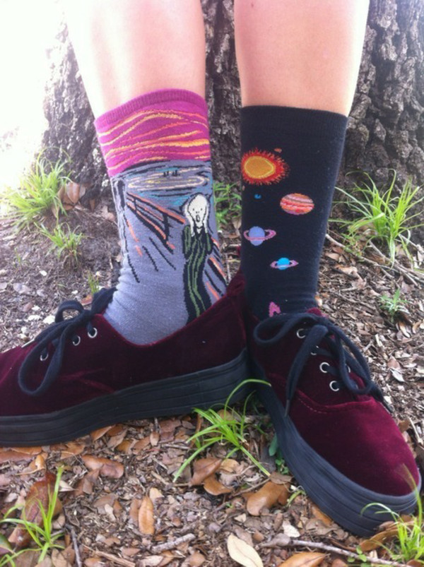 Famous Artist Collection Crew The Scream Cranberry Hot Sox