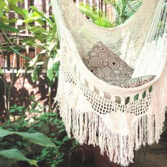 Loose Cotton Chair Covers Chippendale Baby High Hammock Chair, White With Fringe And Threads, Hanging Natural ...